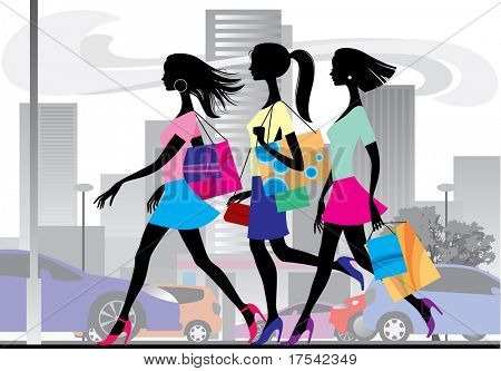 Vector illustration with three shopping girls