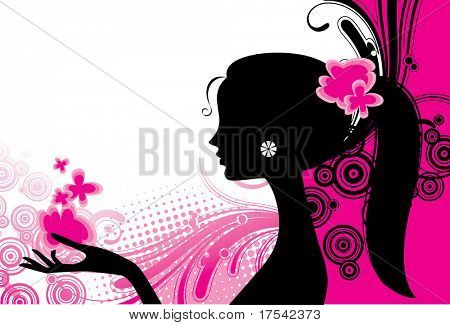 Vector girl's silhouette in pink