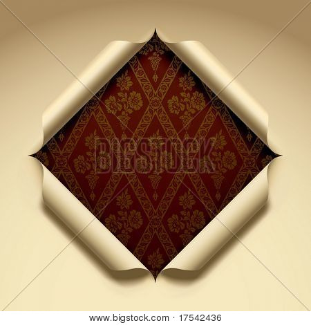 Raster version of vector cut paper with a baroque background