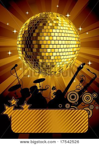 Vector gold disco ball with a banner