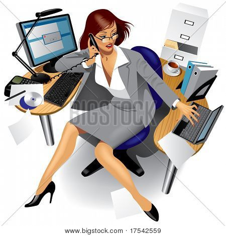 Raster version of vector image of a business women in office
