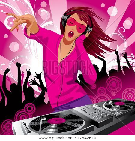 Vector image of beautiful DJ girl and people dancing at a party