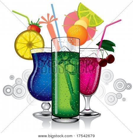 Raster version of vector image of group of cocktails