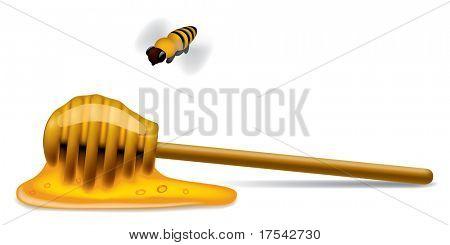 Raster-Version von Vektor-Bild des Honig-Sticks mit einer Biene