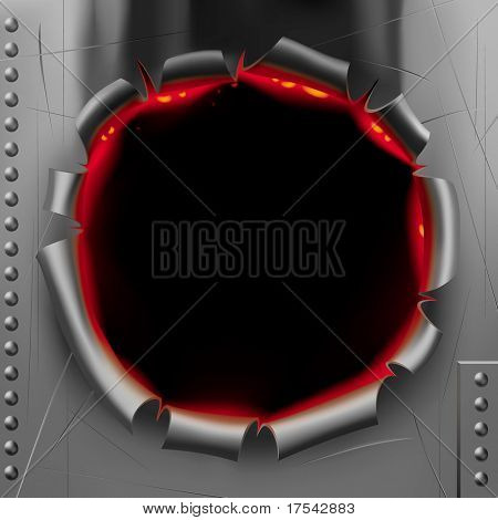Raster version of vector image in form of a black shot hole