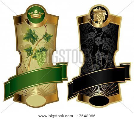 Raster version of vector image of two gold-framed wine labels