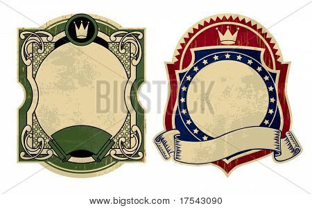 Raster version of vector image of two vintage labels