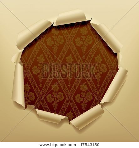 Isolated raster version of vector image of torn hole in paper with a baroque background (contain the Clipping Path)