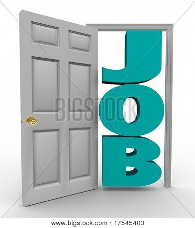 A doorway opens to reveal the word Job, representing a successful search for employment and landing a position