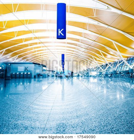 Modern Architecture of shanghai airport, walkway and roof with nobody scene.