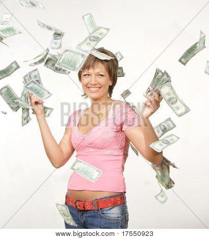 Captura dólares caindo de menina agradável
