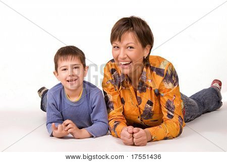Happy mother and son isolated on white background