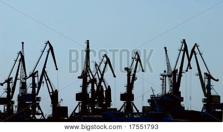 Silhouettes of hoisting cranes in harbor