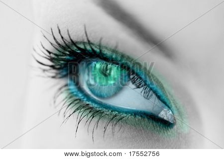 beautiful woman's open green eye
