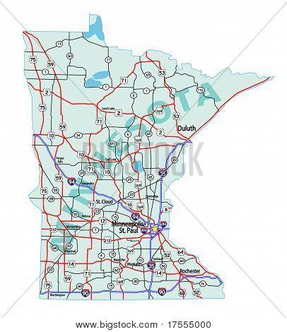 明尼苏达州州际公路地图