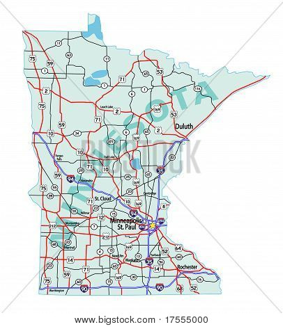 Minnesota State Interstate Map