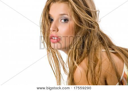 Very nice girl with long blond hair isolated on white