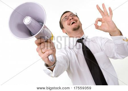 Handsome businessman holding megaphone trumpet, isolated
