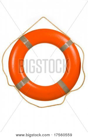 Red life buoy hung on invisible pin isolated over white