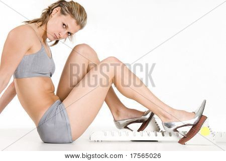 Slim attractive girl with shoe-stopper steeplechase equipment