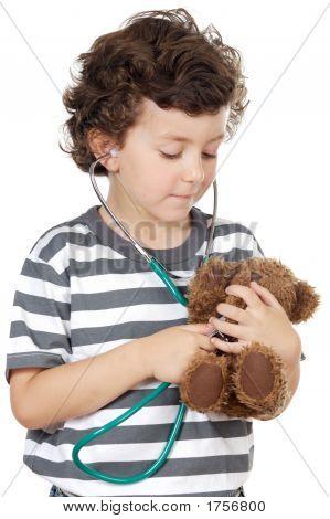 Examining His Bear