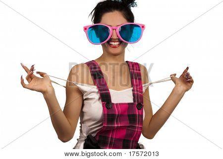 Smiling funny Girl Wearing Large pink Eyeglasses