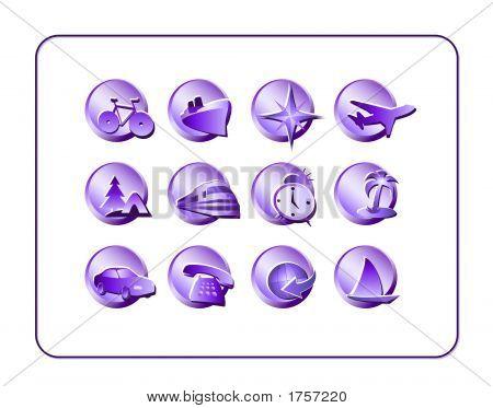 Travel Icon Set, Purple