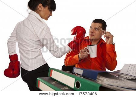 Young secretary try to impact on the young businessman