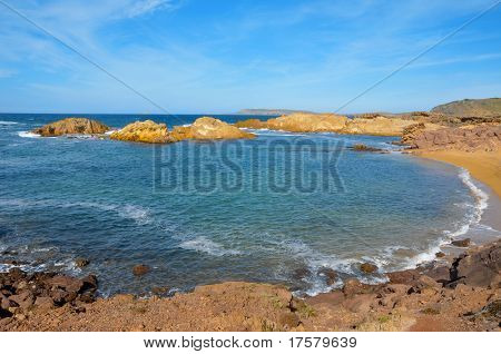view of Cala Pregonda beach in Menorca, Balearic Islands, Spain