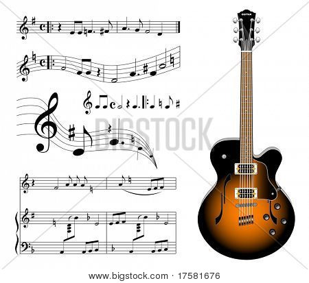 GUITAR AND MUSIC (vector)