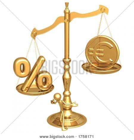 poster of Unbalanced Golden Scale Percentage And Gold Euro Coin