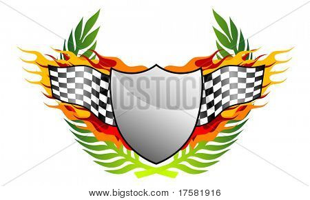 Shield, flag and banner (vector)