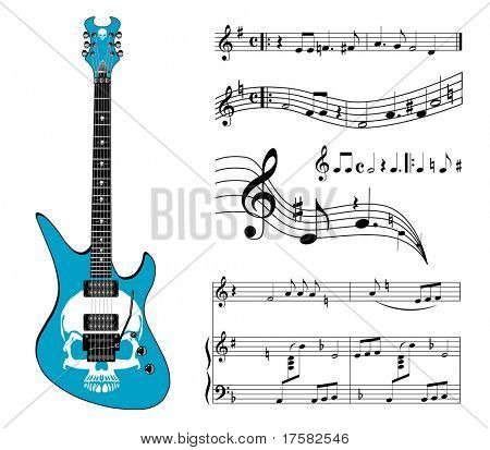 Blue guitar and music (vector)