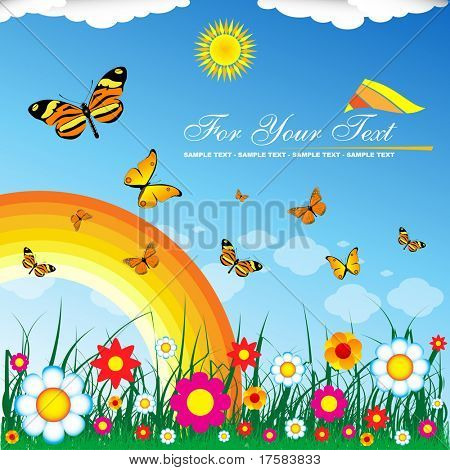 Floral background and rainbow