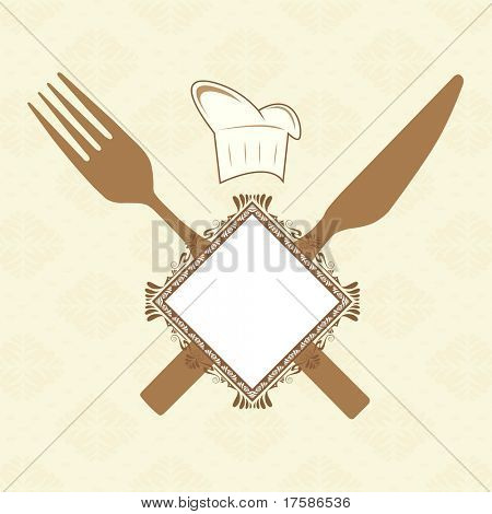 Fork, knife, banner and chef hat