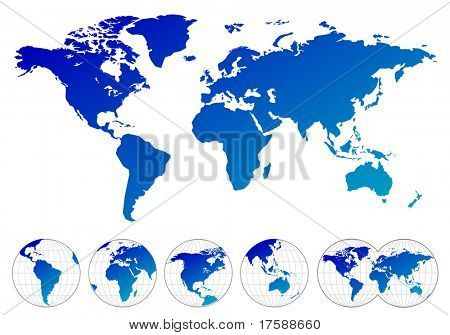 Highly detailed maps of the world (vector)