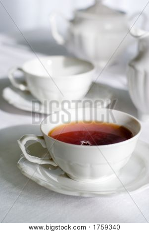 Cup Of Fresh And Steaming Tea.