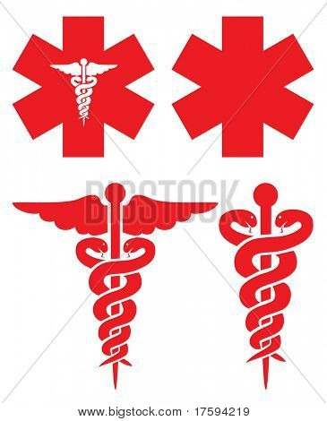 Red medical signs
