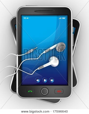 Black smartphones and earphones. No trademark issues because this is my own design. This is a detailed 3D render.