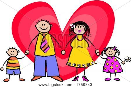 Happy Family Card Light Skin Tone - Vector Eps