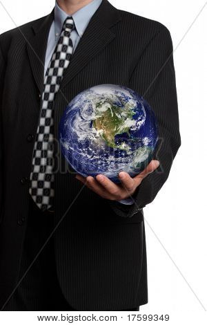 Business man holding a globe in his hand symbol for gobal business, communications or environmental conservation