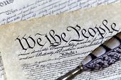 Us Constitution Historical Documents With A Quill Pen poster