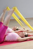 picture of saxy  - mirror pilates woman rubber resistance band fitness sport gym - JPG