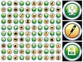 Hundred shiny vector Icons for Web Applications. Web, document, media, shopping and other. Please vi