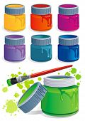 Seven plastic Jars with colored gouache and paintbrush, isolated on white background. Paint buckets