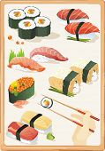 Japanese My Sushi and East motives. Seafood set, vector illustration and other traditional Japanese