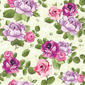 stock photo of pink roses  - Elegance Seamless wallpaper pattern with of pink roses on floral background - JPG