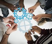 People Gear Cooperation Together Partnership Teamwork poster