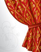 Vector image of a red drape with gold vintage ornament