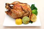 foto of roast chicken  - Roast chicken dinner  - JPG